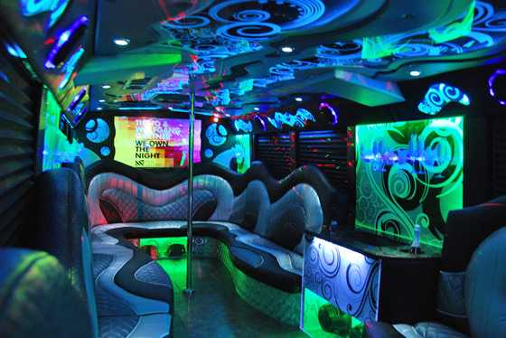 Party bus rental DFW inside limo green