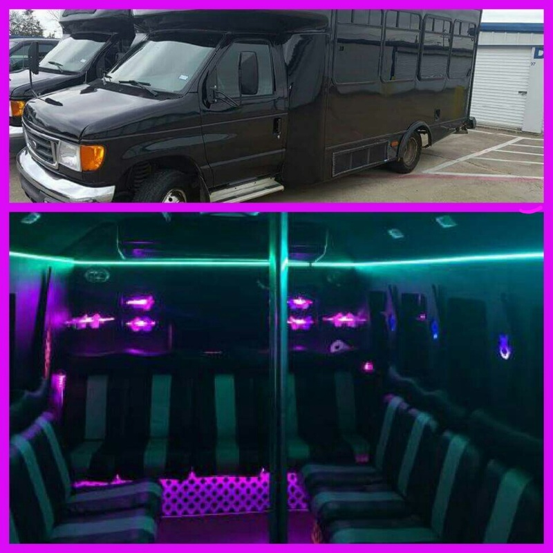 Limo party bus DFW romantic dinner table